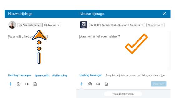 Instructie LinkedInbericht direct plaatsen op bedrijfspagina