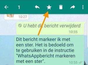 Markeren van een WhatsAppbericht met een ster